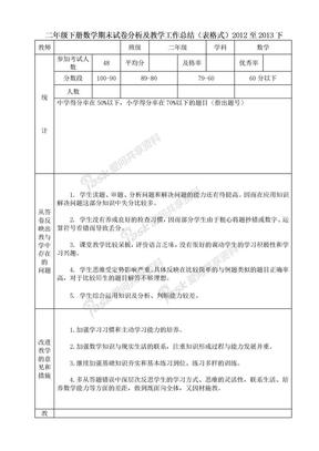 二年级下册数学期末试卷分析及教学工作总结(表格式)2012至2013下.doc