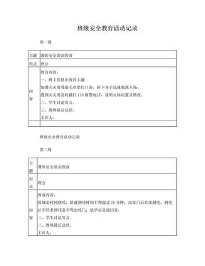 班级安全教育活动记录.doc