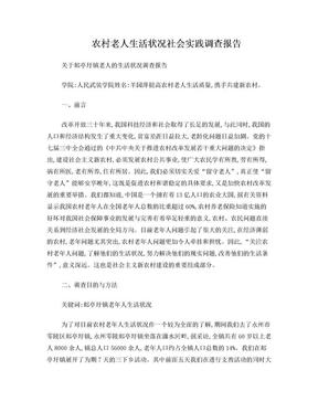 农村老人生活状况调查报告(暑期社会实践调查报告).doc
