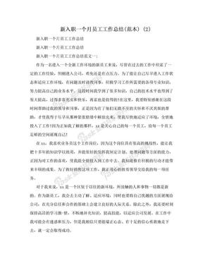 新入职一个月员工工作总结(范本) (2).doc