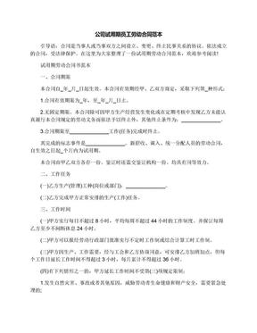 公司试用期员工劳动合同范本.docx