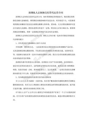 深圳私人定制淘宝托管代运营合同.doc