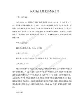中共历史上重要会议及重要事件.doc