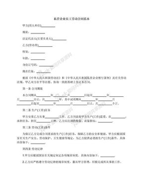 私营企业员工劳动合同范本.docx