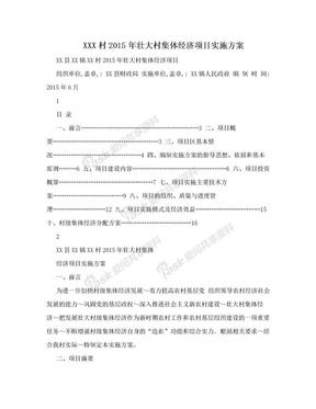XXX村2015年壮大村集体经济项目实施方案.doc