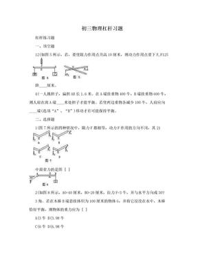 初三物理杠杆习题.doc