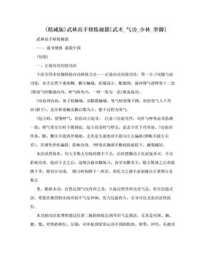 (精减版)武林高手修炼秘籍[武术_气功_少林_拳脚].doc