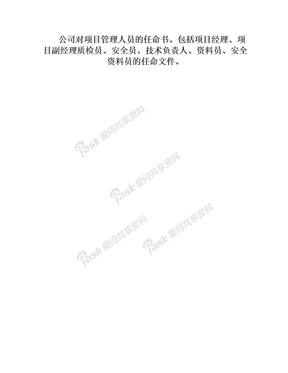 项目主要管理人员企业任命文件.doc