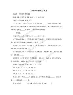 上海小升初数学考题 .doc