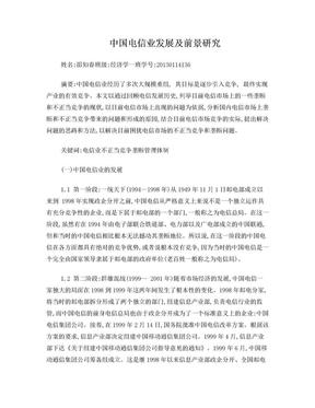 中国电信业发展及前景研究.doc