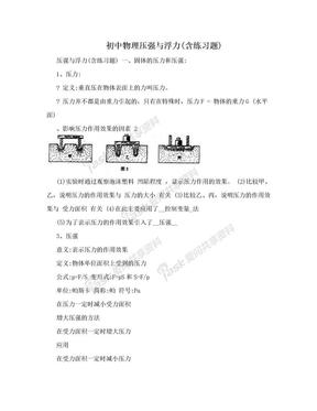 初中物理压强与浮力(含练习题).doc
