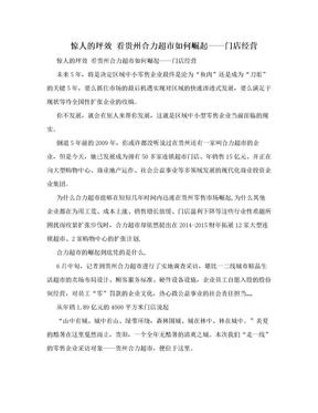 惊人的坪效 看贵州合力超市如何崛起——门店经营.doc