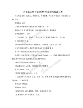 右玉县元堡子镇村卫生室绩效考核评分表.doc