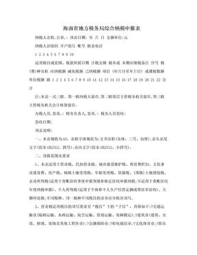 海南省地方税务局综合纳税申报表.doc
