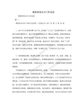 煤炭贸易公司工作总结.doc