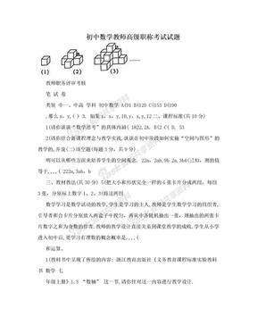 初中数学教师高级职称考试试题.doc