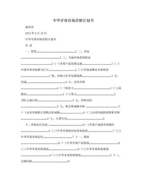 中华牙膏市场营销计划书.doc