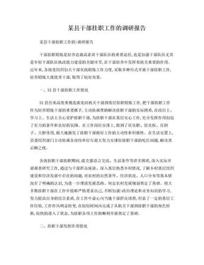 某县干部挂职工作的调研报告.doc