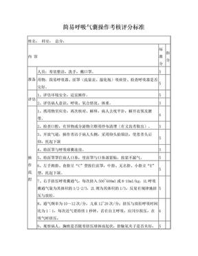 简易呼吸气囊操作考核评分标准.doc