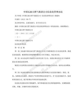中国石油天然气集团公司信息化管理办法.doc