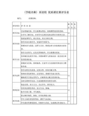 英语组优质课比赛评分表.doc