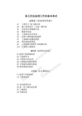 施工阶段监理工作的规范用表.doc