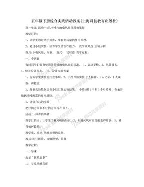五年级下册综合实践活动教案(上海科技教育出版社).doc