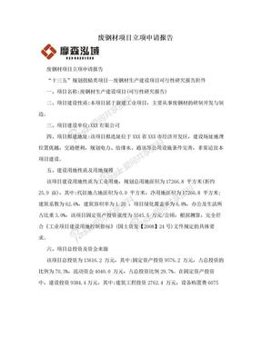 废钢材项目立项申请报告.doc