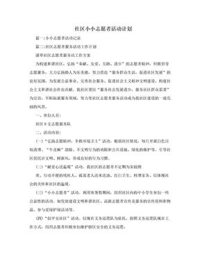 社区小小志愿者活动计划.doc