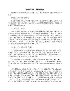 乡镇安全生产工作的调研报告.docx