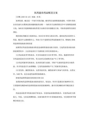 医药超市药品配送方案.doc