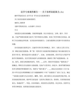 法学专业调查报告——关于农村家庭暴力.doc.doc