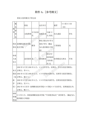 要求入党积极分子登记表(模板).doc
