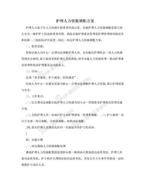 护理人力资源调配方案.doc