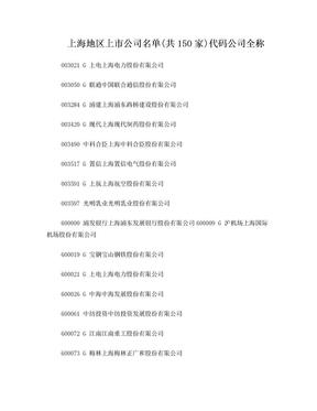 上海,深圳地区上市公司名单.doc