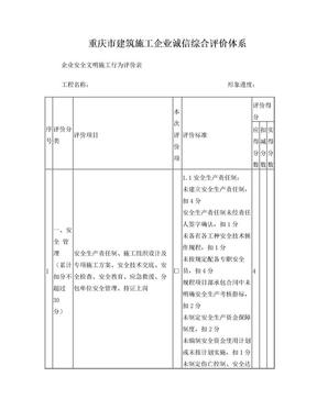 重庆市建筑施工企业诚信综合评价体系.doc