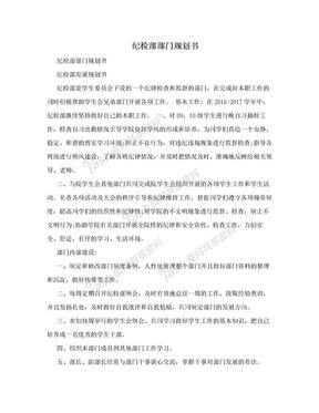 纪检部部门规划书.doc