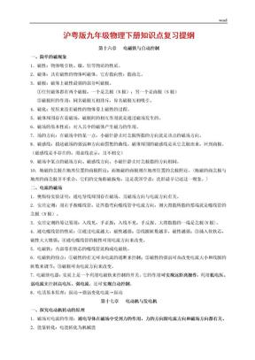 沪粤版九年级物理下册知识点复习提纲汇总.doc