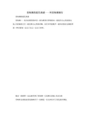 青海湖的蓝色诱惑——环青海湖骑行.doc