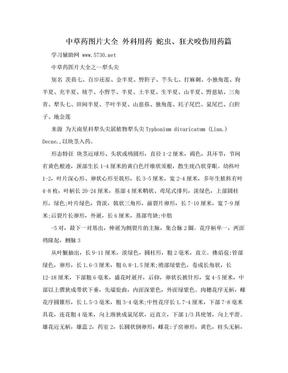 中草药图片大全  外科用药  蛇虫、狂犬咬伤用药篇.doc