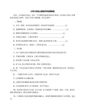 小学六年级上册数学考试模拟题.docx