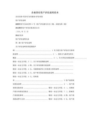 企业国有资产评估说明范本.doc