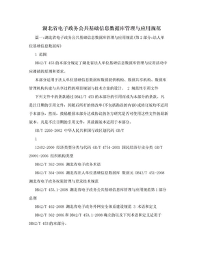 湖北省电子政务公共基础信息数据库管理与应用规范.doc