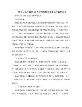 师带徒工作总结 培训学校师傅带徒弟工作总结范文.doc