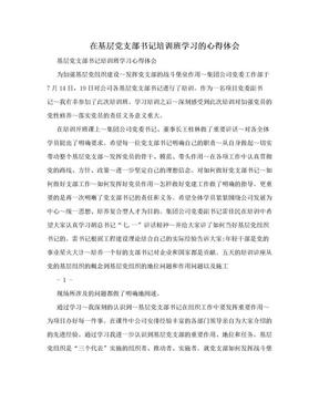 在基层党支部书记培训班学习的心得体会.doc