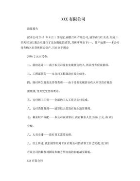 小规模公司注销清算报告.doc