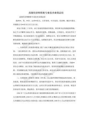 高级经济师职称专业技术业绩总结.doc