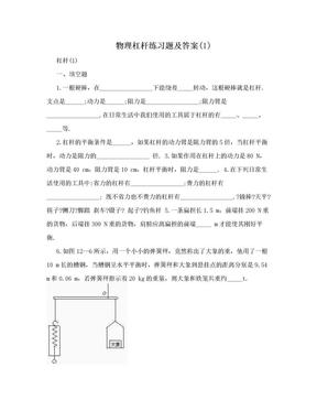 物理杠杆练习题及答案(1).doc