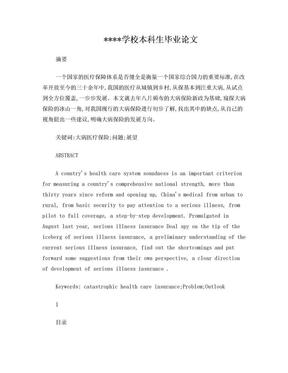 关于我国城乡居民大病医疗保险制度的研究(论文).doc