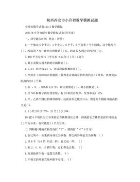 陕西西安市小升初数学模拟试题.doc